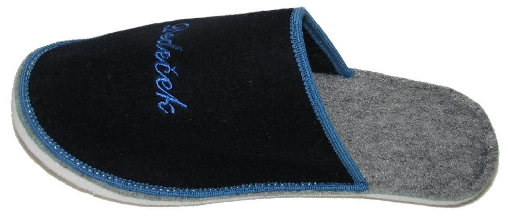 Papuče dárkové filc - DĚDEČEK - modré