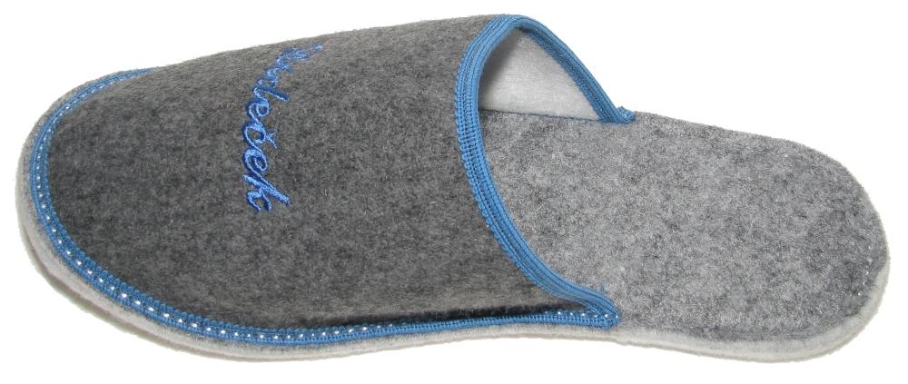 Papuče dárkové filc - DĚDEČEK - šedé